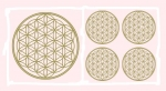 Blume des Lebens Aufkleber-Set  5-teilig, abriebfest, Gold