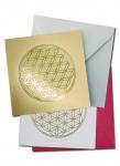 Mini- Doppelkarten mit Goldprägung Blume des Lebens