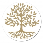 Baum des Lebens Aufkleber auf Rolle 250 Stück ca. 7.5 cm
