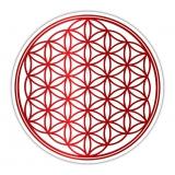 Blume des Lebens Aufkleber auf Rolle in Rot
